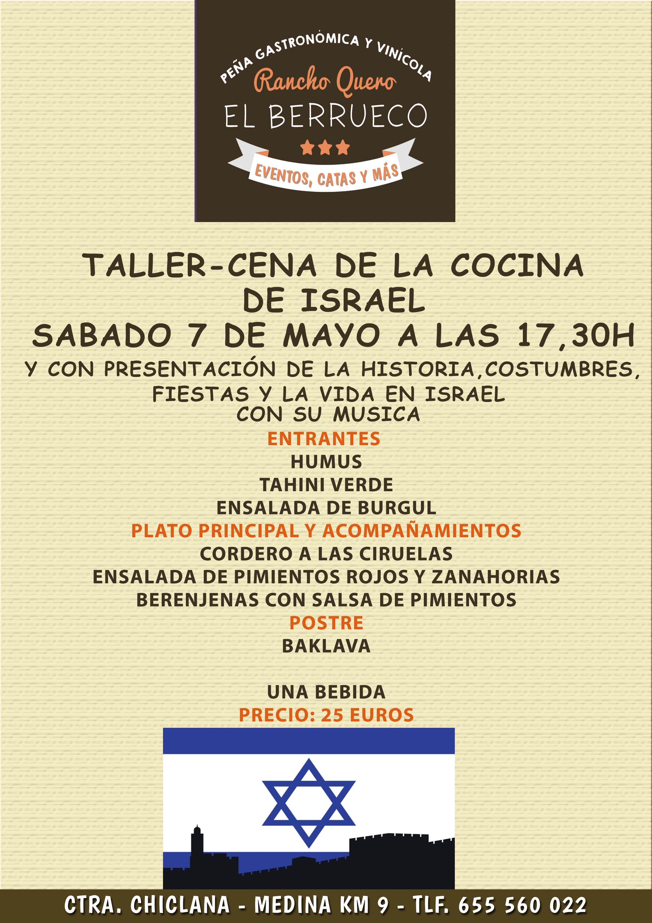 Taller cena de la cocina de israel s bado 7 de mayo a las for La cocina taller